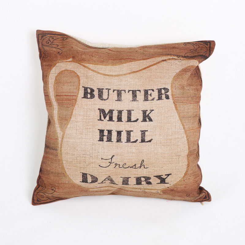 Free Shipping Home Decoration Cotton Linen Square Pillows Decorate Dairy Milk Butter Hill Throw Pillow Sham Cushion Cover(China (Mainland))