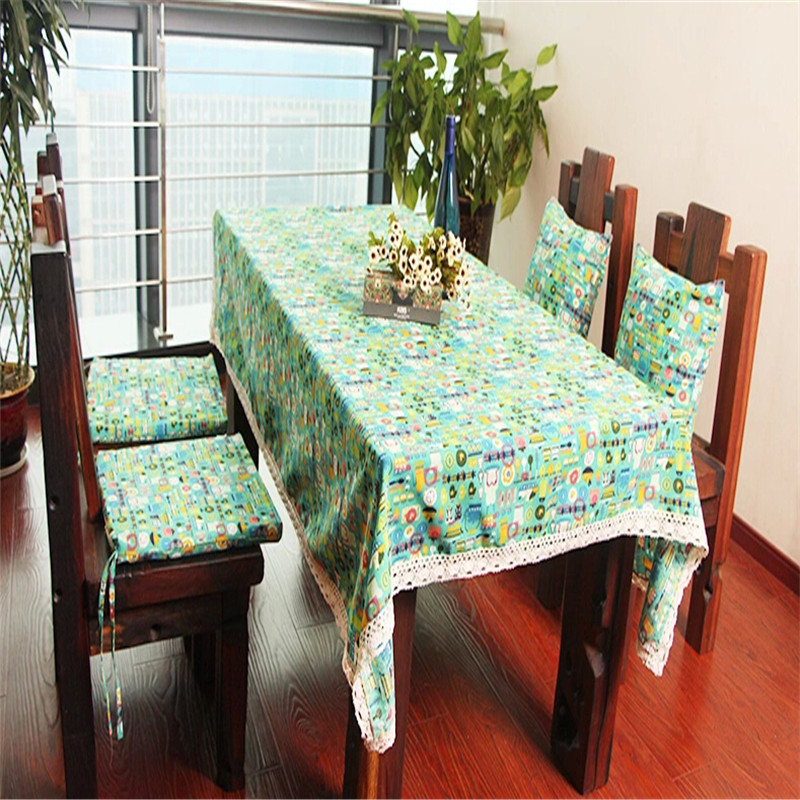 Free Shipping American country style Dining Room Tablecloth Lace Edging Table Cloth tablecover Matched Chair Pad Pillow & Inner(China (Mainland))