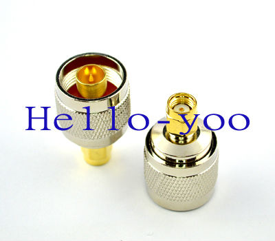 2pcs/lot goldplated RP SMA plug male pin to N type female Jack RF coaxial connector adapter straight Free shipping(China (Mainland))