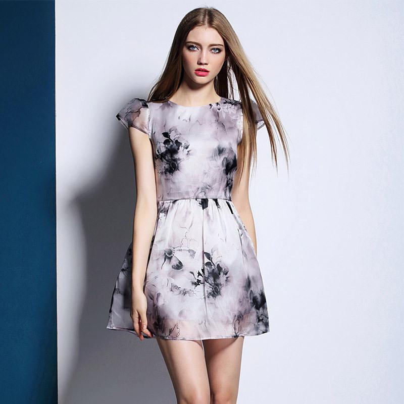 Robe Direct Selling Vintage Bud Print Regular 2015 New Dress Printing Ink Silk Yarn Eugen Retro Short Sleeved Princess 50351(China (Mainland))
