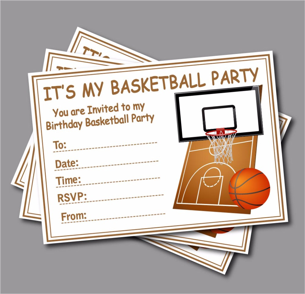 20pcs Basketball Birthday invitation kids Childrens party decoration supplier Custom Baby shower Invites A5 size free shipping(China (Mainland))
