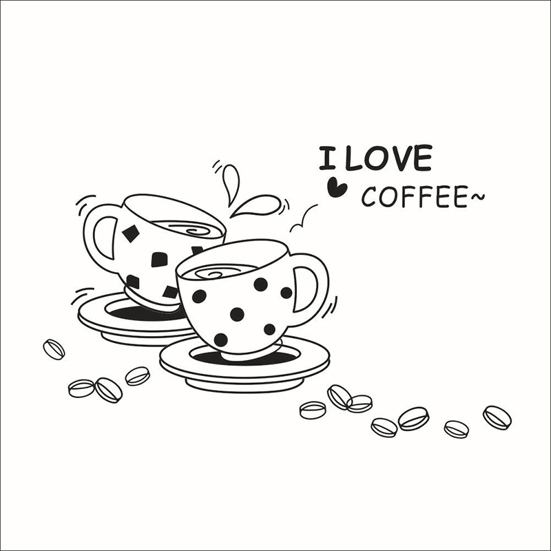 American Style I love coffee Wall Decal Cute Coffee Cup wall sticker Kitchen Restaurant vinyl Waterproof wall stickers ZY8241