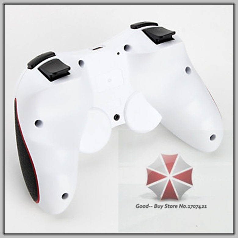 2015 Free Shipping Joysticks Wireless Remote Bluetooth Game Controller Grip for PS3 Console White+ Red Stripe GB-000215(China (Mainland))
