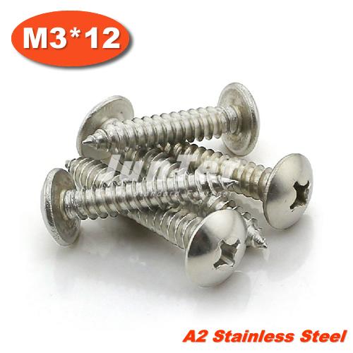 1000pcs/lot M3*12 Stainless Steel A2 Phillips Truss Head (Cross Recessed Mushroom Head) Self Tapping Screws<br><br>Aliexpress