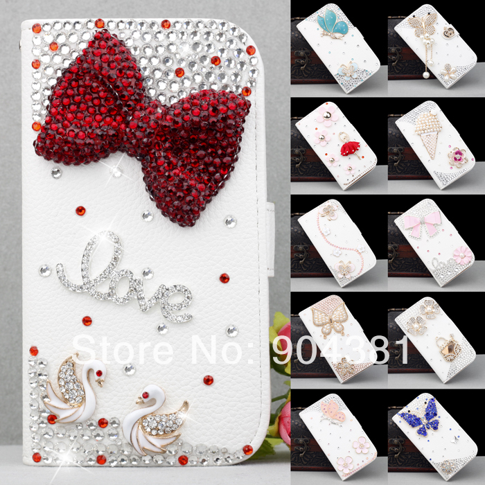 New Design Handmade Manual Bling White Wallet Stand Leather Hard phone Case Cover For Apple iPhone 4 4S iphone4s(China (Mainland))