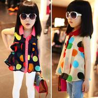 2015 Summer Girl's Turn-down Collar Large Dot Chiffon Sleeveless Shirt Childern's Casual Cute Dresses Kid's T-shirt GD003