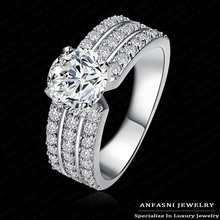 2014 Top Finger Ring Real 18K Gold /Platinum Plated 3 Row With Swiss Cubic Zircon Wide Ring Fashion Jewelry Wholesale