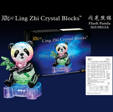 2015 New Hot Selling Crystal Panda Educational Toys LED DIY 3D Puzzles High Quality Kids Wooden Toys For Children Wholesale(China (Mainland))