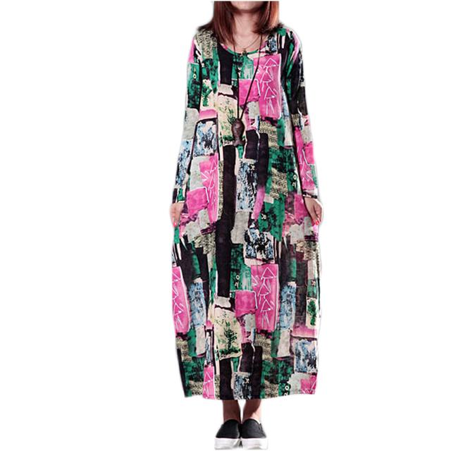 Cheap Autumn Winter Vintage Plus Size Print Cotton Linen Dress ...
