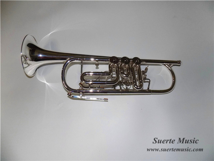 Bb Rotary Trumpet in Silver plated with ABS case and mouthpiece Musical instruments Online Supply(China (Mainland))
