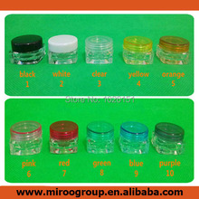 Hot selling! 3g plastic cosmetic container, 3g square cream jar, sample jar 3g with colorful lids/caps(10 colors), 100pcs/lot