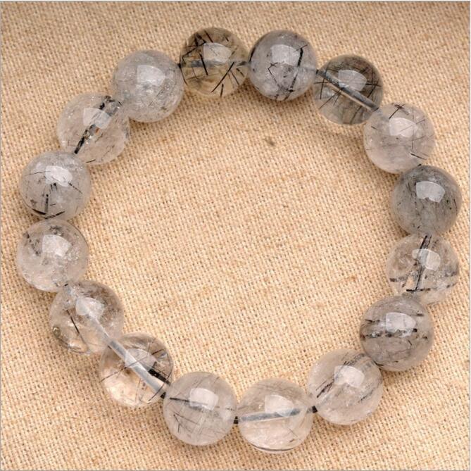 Natural Black Rutile Quartz Crystal Tourmaline Stone Bracelet Cristal Piedra Cuentas Pulsera Cristal Bolas Bigiotteria Cristallo(China (Mainland))