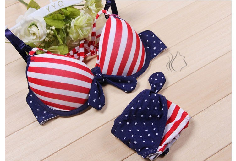 Navy style sweet corset adjustable stripe bikini lingerie bra set 05