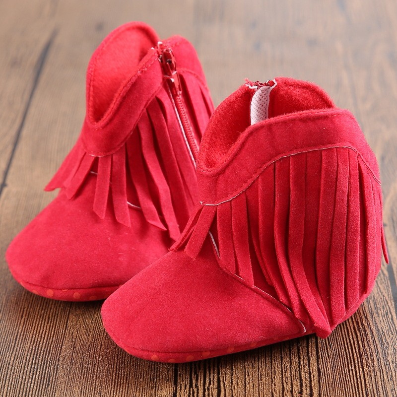 Monkids 2017 Newborn First Walkers Baby Girls Shoes Mocassins Infant Toddler Soft Soled Anti-slip Boots Booties Fringe Shoe(China (Mainland))
