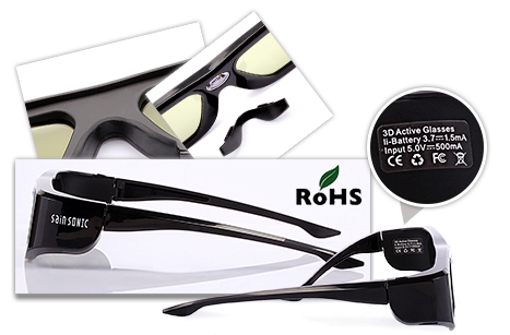 UNIVERSAL 3D Rechargeable Infrared Active Shutter Glasses