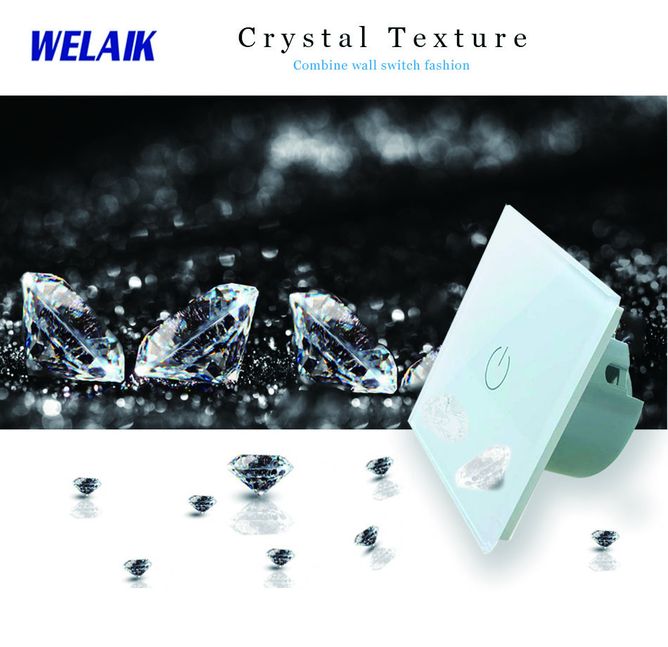 WELAIK  Touch Switch DIY Parts  Glass Panel Only of Wall Light Switch Black White Crystal Glass Panel Square hole  A18W/B1