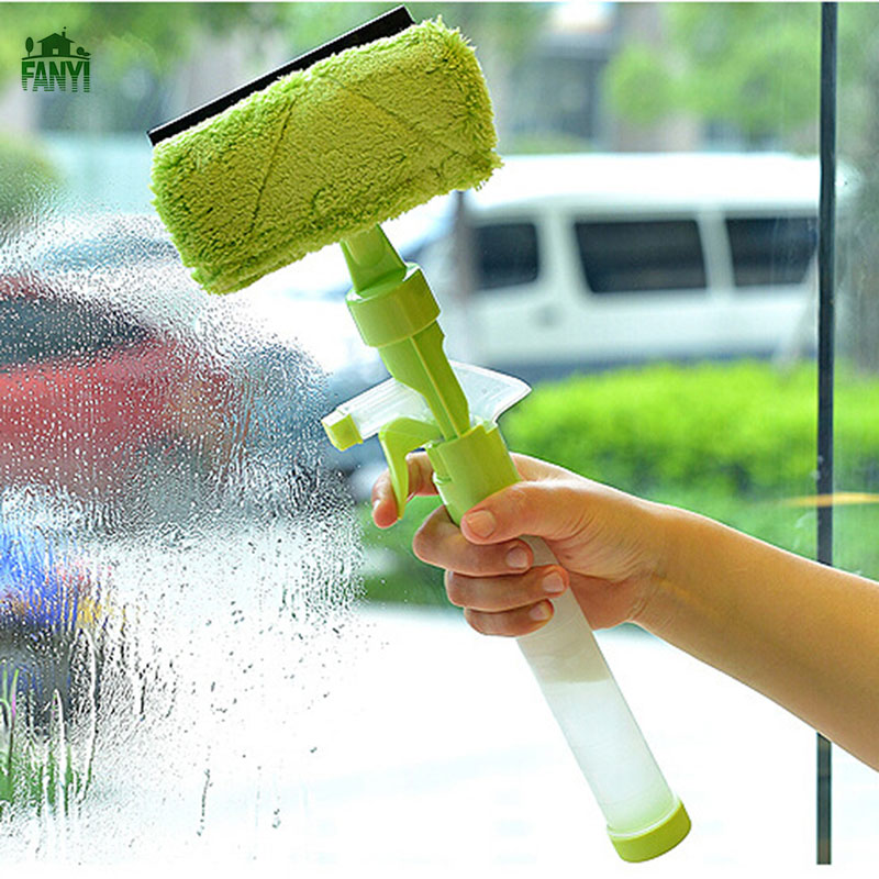 FANYI Multi-functional Spray Glass Cleaner Double-sided Glass Cleaner Scraper Window&Glass Clean Brush for free shipping(China (Mainland))