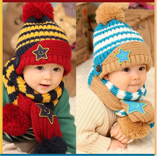 Free Shipping 2014 New Baby Winter Hats 5-Star Children Skullies & Beanies Scarf Hat Set Baby Knitted kids Hats & Caps(China (Mainland))
