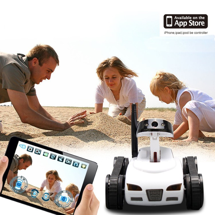Hot Happycow 777-270 WiFi Mini RC Tank Car with 0.3MP Camera Real-time Transmission App-controlled Wireless Gift White Gray