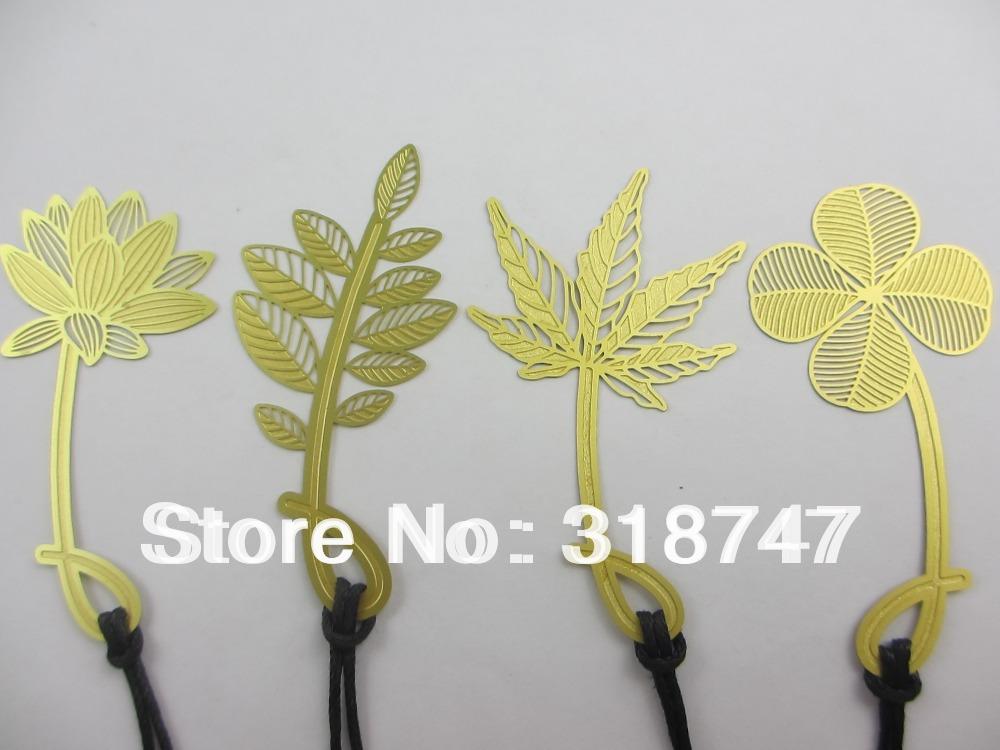 4pcs Mixed Size Copper Leather Cord Mini Metal Gift Bookmark lotus Shape Design(China (Mainland))