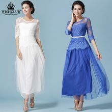 WISHCLUB New Fashion Women Casual Lace Embroidered Dress Ladies Half Sleeve O-Neck Summer Style Dress