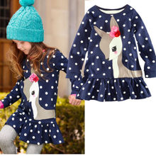 New 2016 Fashion 18m-6y Baby Girls Dress Cute Deer Long Sleeve Cotton Polka Dots Top Children For Girl Clothes(China (Mainland))