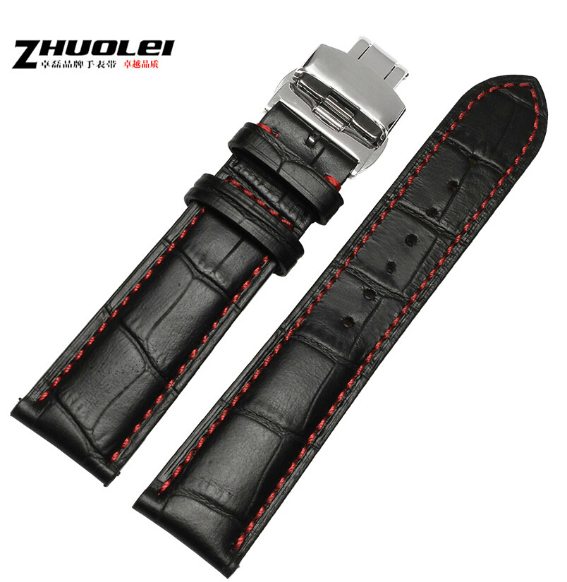 18mm 19mm 20mm 21mm 22mm 23mm 24mm New Butterfly Buckle Black Genuine Leather Red Stitching Watch band(China (Mainland))