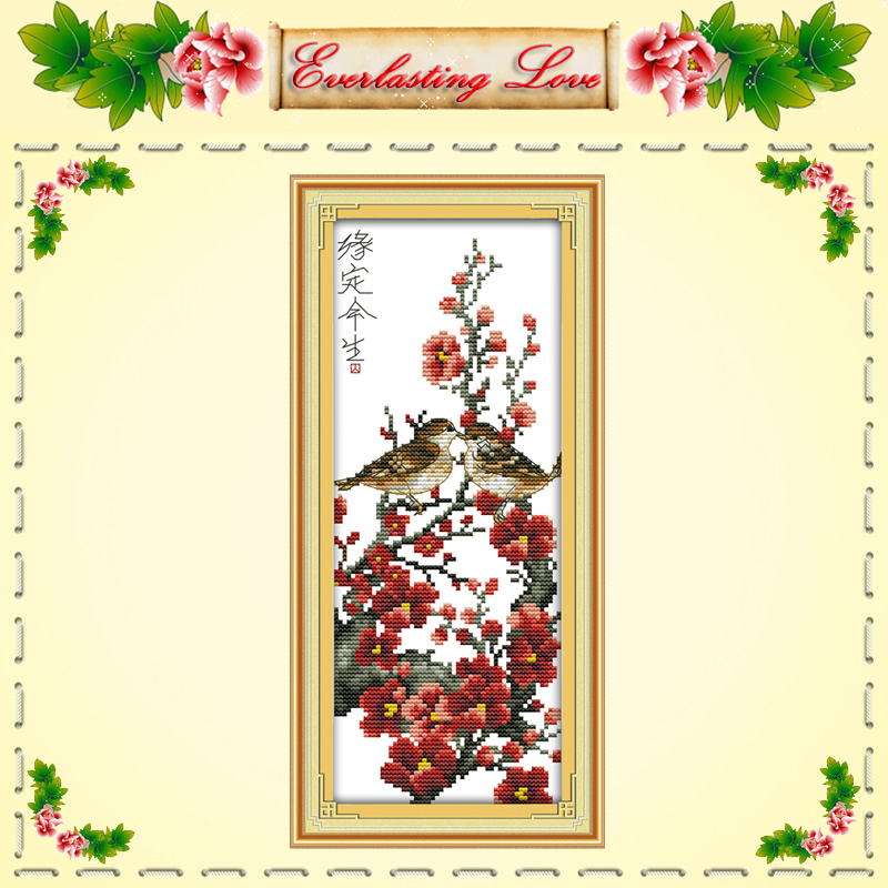 Kiss love life birds flower chinese Cross stitch painting DMC 14CT 11CT counted printed on fabric kits needlework embroidery Set(China (Mainland))