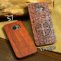 Wood Case for Samsung s7 Wooden New Cover Natural Real Bamboo Carving Wood Plastic Edges Back
