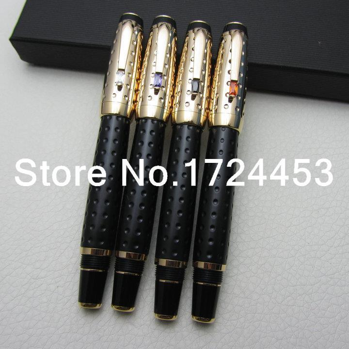 4 PCS Luxurious Black and Gold OEM Roller Ball Pen Round Dot Pattern Style Pens with gift box  M1038<br><br>Aliexpress