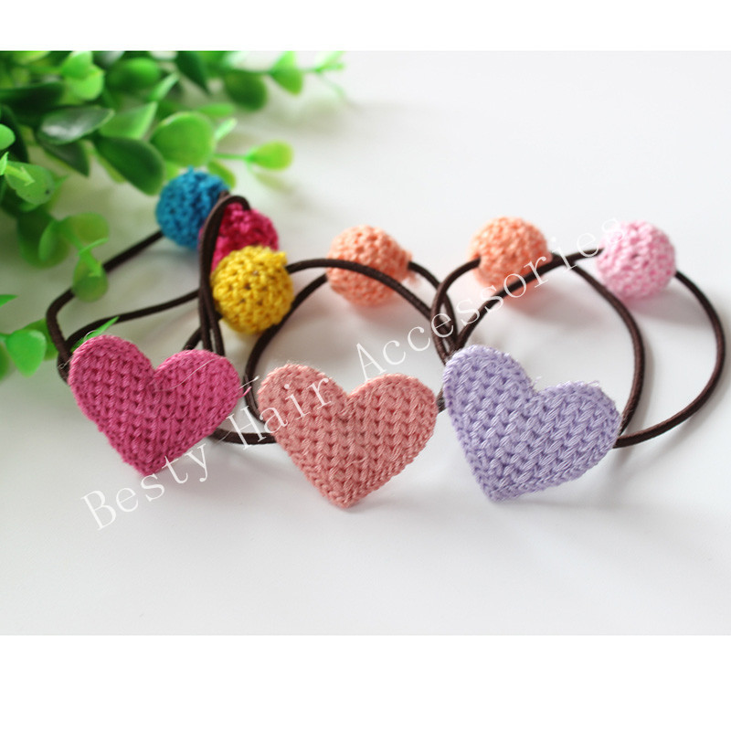15Pcs/Lot Kids Girl's Knitting Heart PonyTail Holder Hair Ring scrunch hair rope For Girl Hair Accessories Freeshipping(China (Mainland))