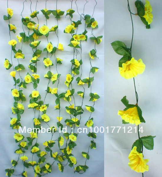 5 hastes morning glory flor guirlandas de seda artificial for 5 plantas decorativas