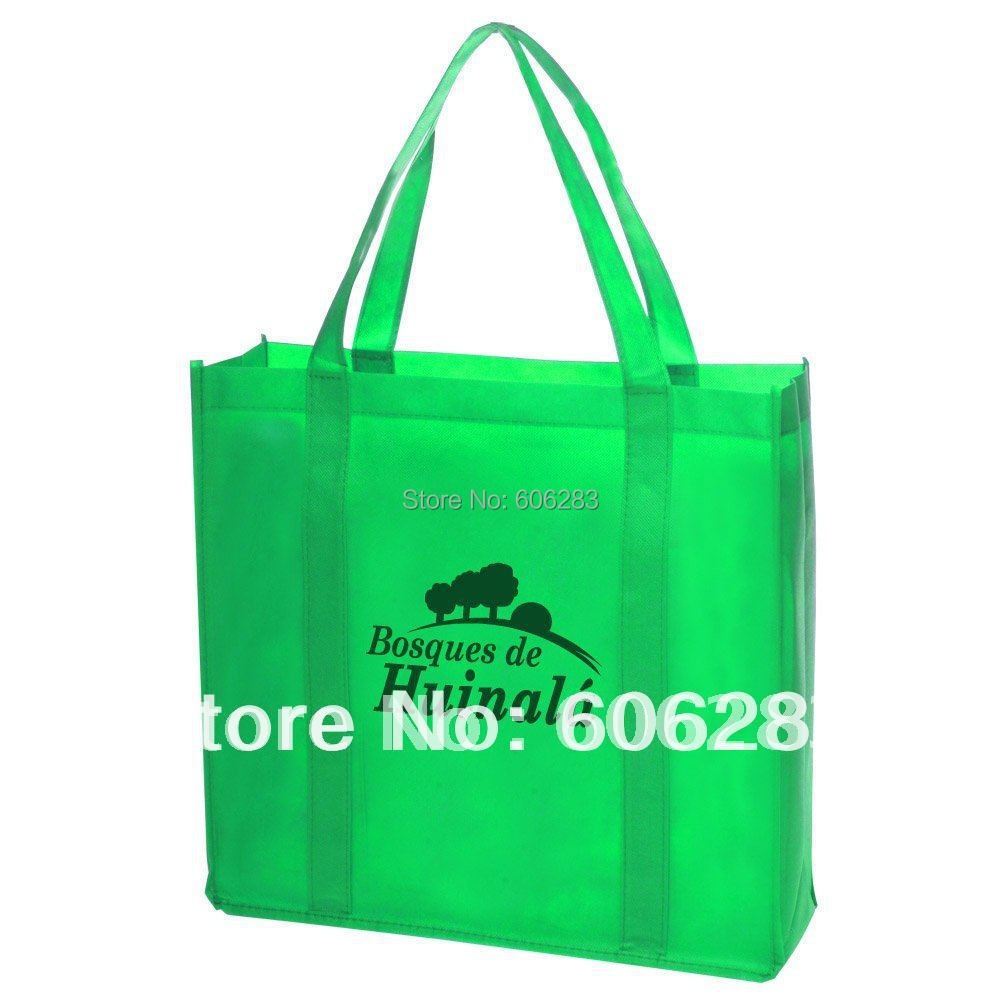 Custom PP Non woven shopping bag with handle sewing to bottom with own logo printng(China (Mainland))