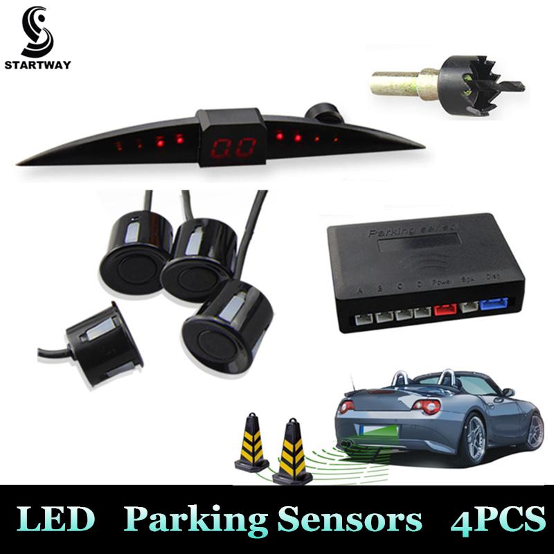 2016 New Car Fashion LED Display Parking Sensor Kit Multi-Color 13mm/22mm 4 Sensors Reverse Assistance Backup Radar System(China (Mainland))