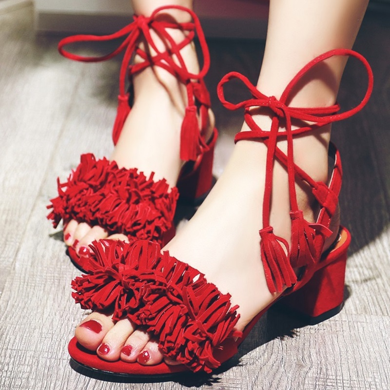 Big Size 43 SUPER HOT Design New 2016 Tassel Women Sandals Cross Straps Fashion Lace-Up Dress Party Lady Casual Summer Shoes(China (Mainland))