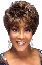 Exquisite Women's Hairstyle 100% Human Hair Short Curly Brown Elegant Hair Wigs Free Shipping