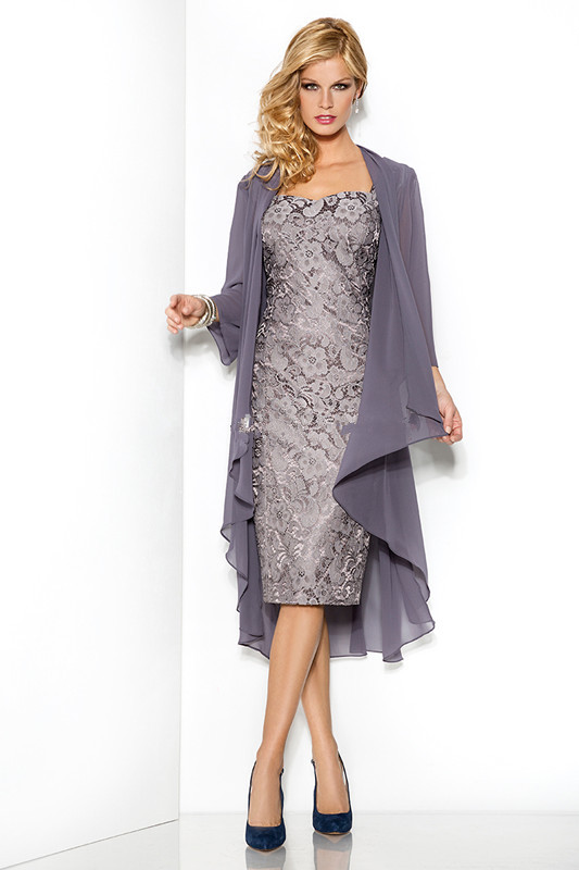 Fall Sheath Dresses With Jackets In Gray The Bride Dresses Sheath