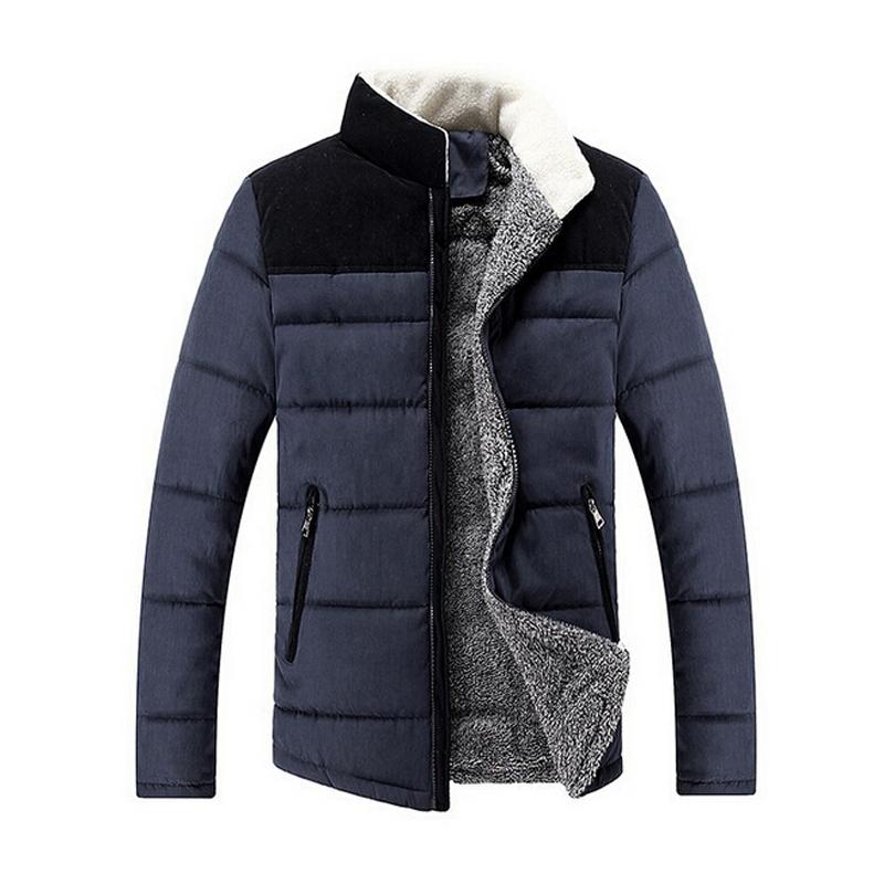 Casual Solid Warm Winter Coat Men 2015 Cotton Coat Stand Collar Thermal Men Down Coat Patchwork