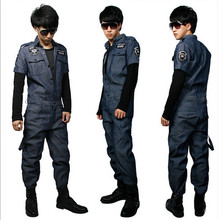 Men's Fashion Military Denim Overalls Women's Patches Badge Cargo Pants Short Sleeve Jumpsuits Work Clothes Plus Size XS-XXL(China (Mainland))