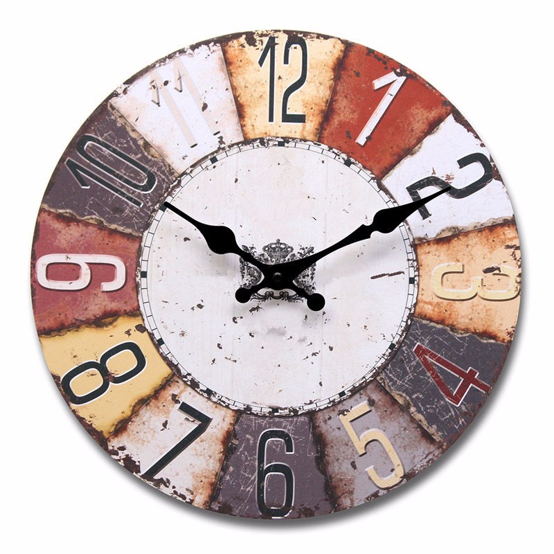 Vintage Style Colorful Round Wood Wall Clock Office Home Living Room Decor HQ MDF Waterproof Coated Paper(China (Mainland))