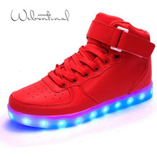 2016 High Top Basket Light UP Shoe Mens Shoes Led Schoenen Women Casual Men Homme Luminous Femme Chaussures Lumineuse For Adults(China (Mainland))