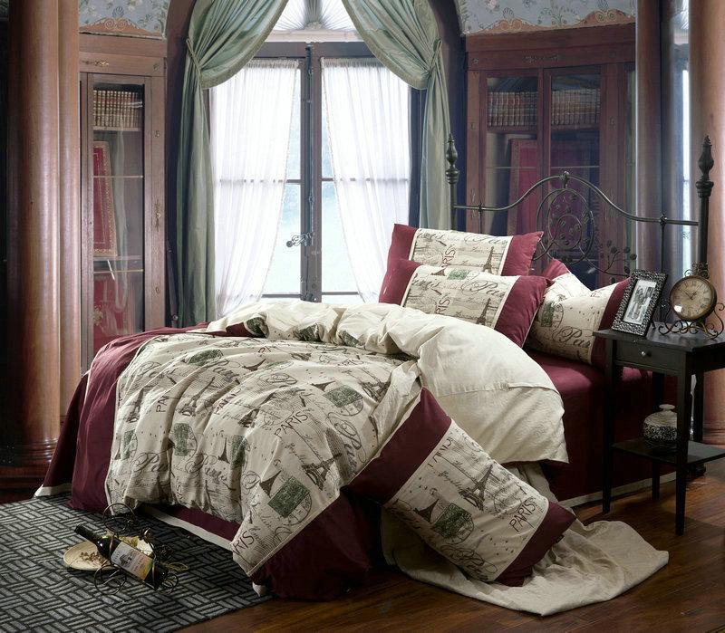 Linen Vintage Paris Eiffel Tower Bedding Comforter Set Queen Size Duvet Cover Bedspread Bed In A