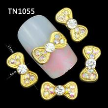 10Pcs/Pack  Bow Tie AB Color Rhinestone DIY 3D Nail Art Decorations For 2515 New Glitters Gold Alloy Nail Tools TN1055