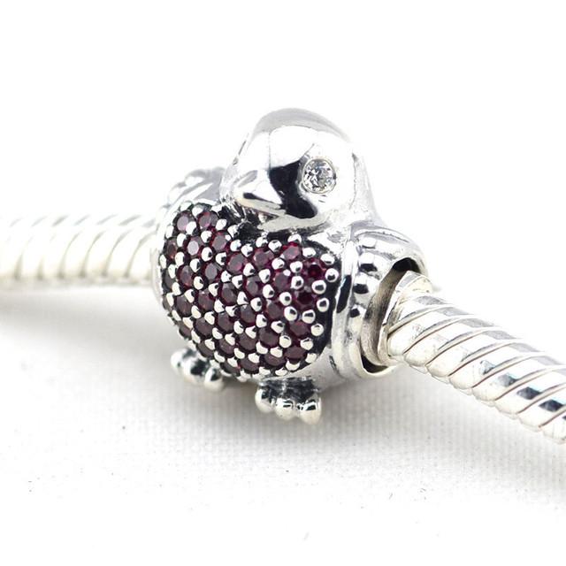 Осень стиль серебряные ювелирные изделия 925 красный робин CZ вымостите бусины Fit пандора оригинальный подвески браслеты DIY ювелирных украшений