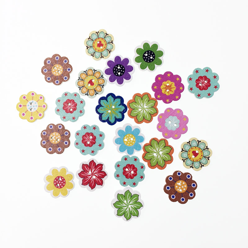 100pcs fancy popular bulk mixed wood button flower sewing for Decorative pins for crafts