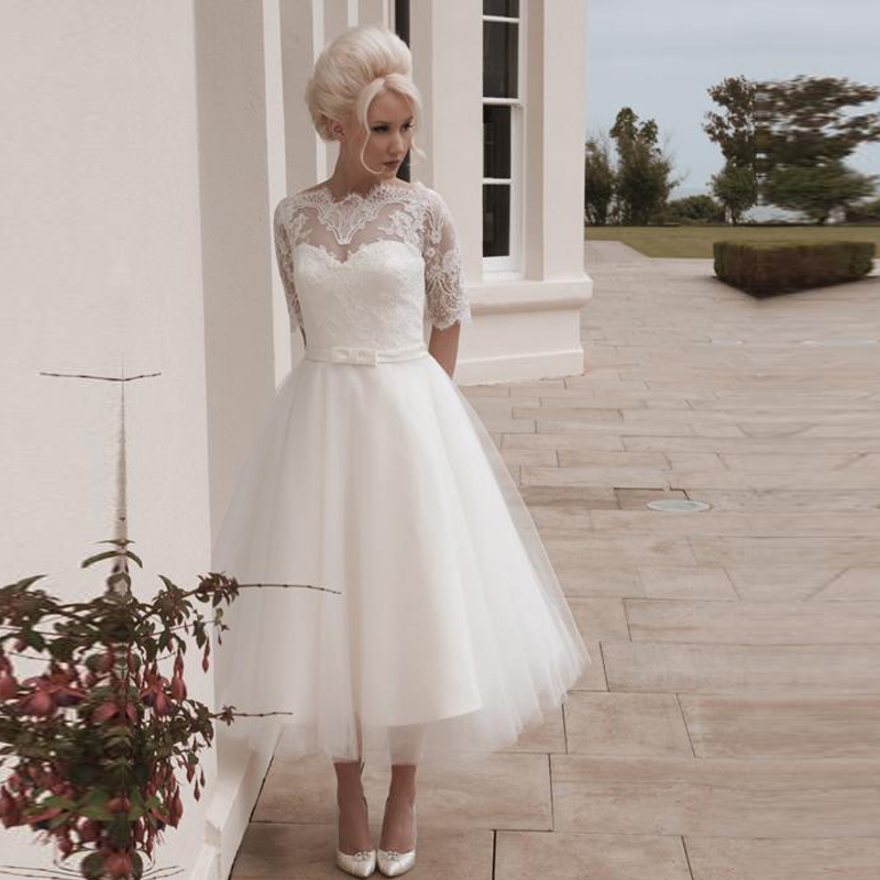 short bridal wedding dress plus size with half sleeves tea