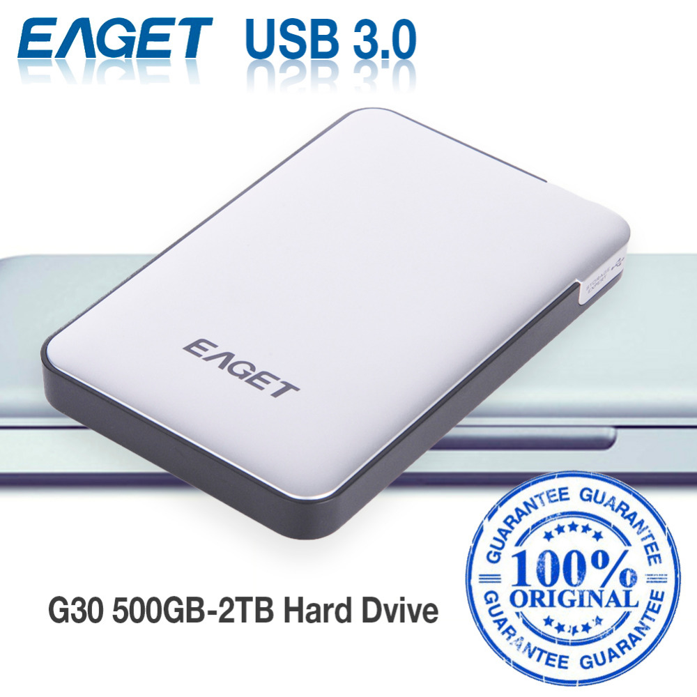 EAGET G30 Original 2TB 1TB External Hard Drives HDDs USB 3.0 High-Speed Shockproof Encryption Desktop Laptop Mobile Hard Disk(China (Mainland))