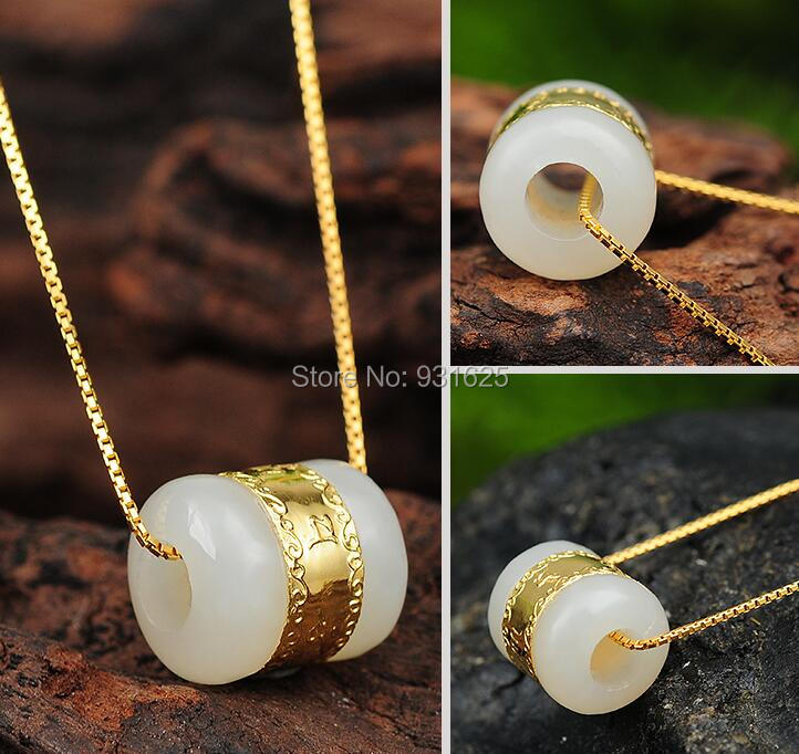 100% 999 Gold Inlaied Jade Pendant Real Natural Hetian Jade Hand Carved Pendants free Necklace Fine Jade Jewelry<br><br>Aliexpress