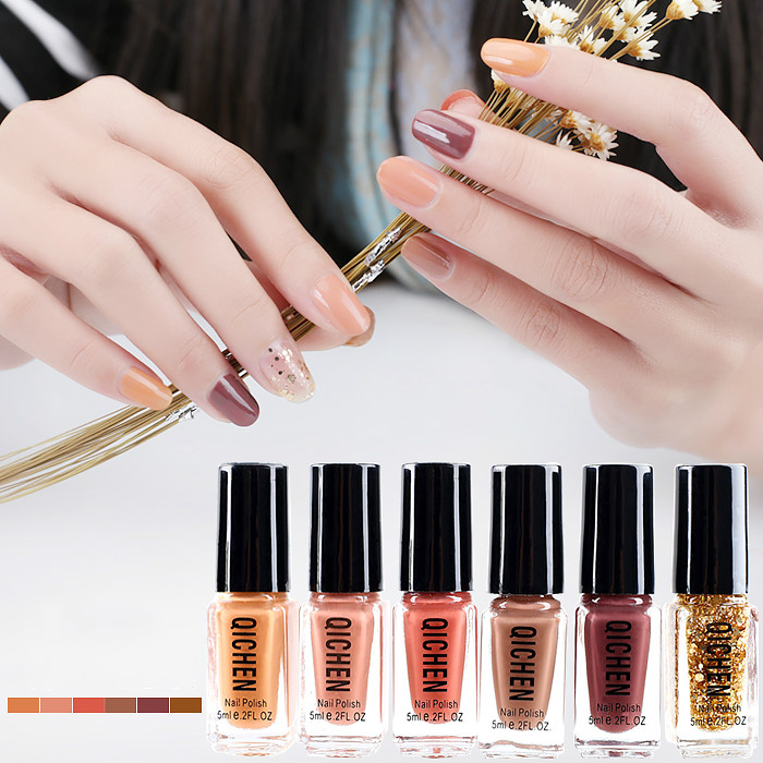 6pcs/set Nude Nail Polish Set Lacquer Professional Manicure Party Color Paillette Candy Matte Nude <font><b>Nailpolish</b></font> Free Shipping