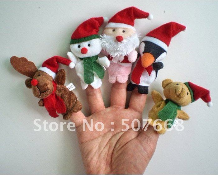 Lovely Christmas finger Puppets toys Felt Boards Baby Hand Puppet toy baby Finger Toy 500pcs/lot(China (Mainland))